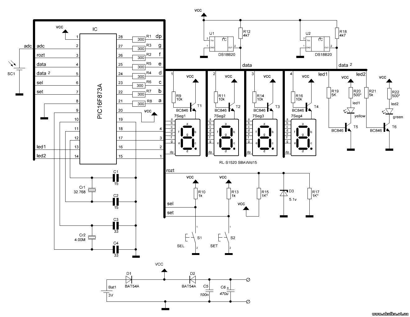 часы на микроконтроллере схема